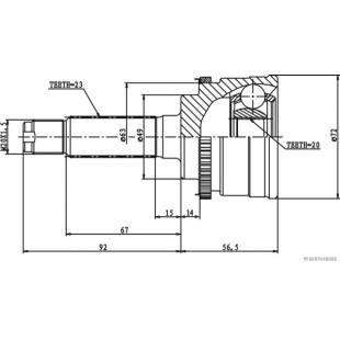Püsikiirusliigendi rem.komplekt HERTH+BUSS JAKOPARTS J2828119