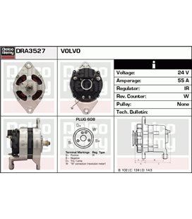 DELCO REMY GENERAATOR 24V VOL FH12 CA907IR 999103620