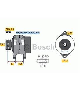 BOSCH GENERAATOR 24V 110A VOL/RVI FH13 D13 BOSCH 999104650