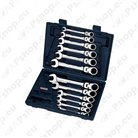 Combination spanner sets with hinged ratchet head