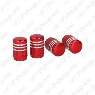 Ventiiliotsikud alumiinium 4tk, punane-hõbe, sisemus plastik S131-058191