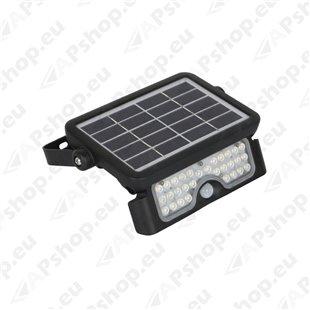 LED SOLAR PROZEKTOR+ANDUR 5W 500LM 217X149MM NEUTRAALVALGE. MUST IP65 A++ KOBI